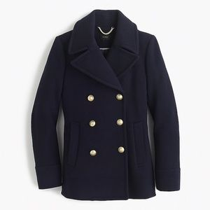J crew classic wool blend pea coat navy blue